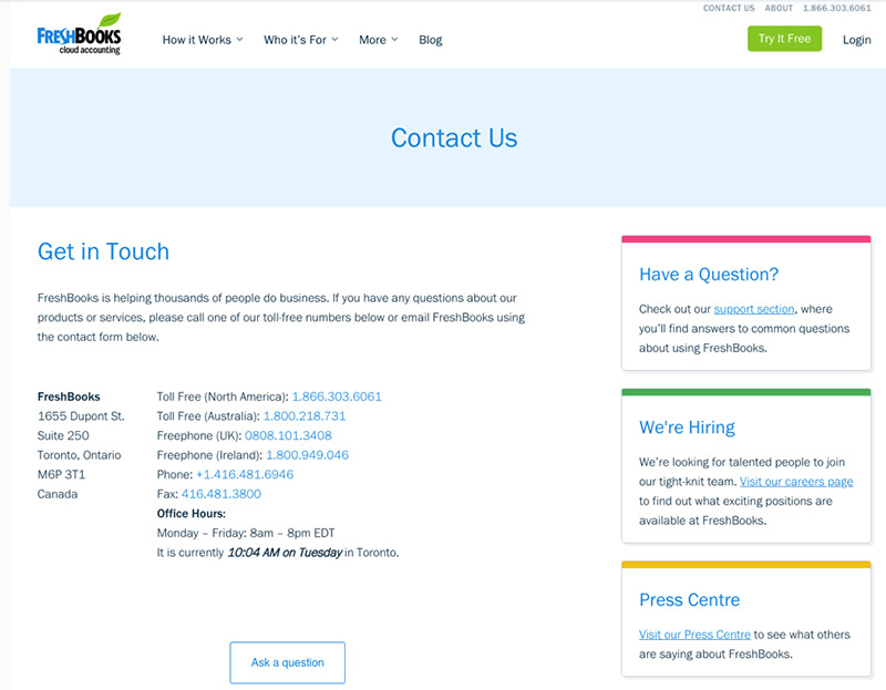 website contact page examples